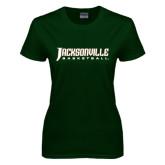 Ladies Dark Green T Shirt-Basketball