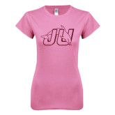 Next Level Ladies SoftStyle Junior Fitted Pink Tee-Official Logo Hot Pink Glitter