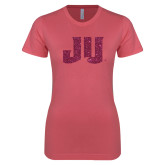 Next Level Ladies SoftStyle Junior Fitted Pink Tee-JU Hot Pink Glitter