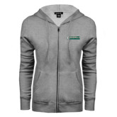 ENZA Ladies Grey Fleece Full Zip Hoodie-Jacksonville Dolphins Word Mark