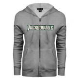 ENZA Ladies Grey Fleece Full Zip Hoodie-Jacksonville Word Mark