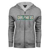 ENZA Ladies Grey Fleece Full Zip Hoodie-Dolphins Word Mark