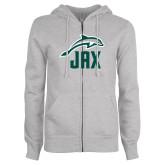 ENZA Ladies Grey Fleece Full Zip Hoodie-Dolphin JAX