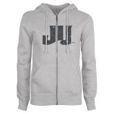 ENZA Ladies Grey Fleece Full Zip Hoodie-JU Graphite Soft Glitter