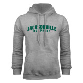 Grey Fleece Hoodie-Jacksonville Dolphins Arched