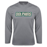 Syntrel Performance Steel Longsleeve Shirt-Dolphins Word Mark