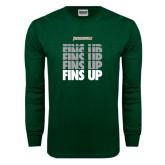 Dark Green Long Sleeve T Shirt-Fins Up