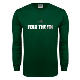 Dark Green Long Sleeve T Shirt-Fear the Fin
