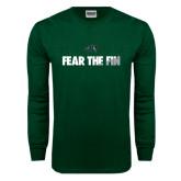 Dark Green Long Sleeve T Shirt-Fear the Fin