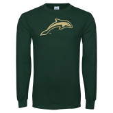 Dark Green Long Sleeve T Shirt-Dolphin