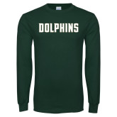 Dark Green Long Sleeve T Shirt-Dolphins Wordmark