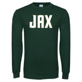 Dark Green Long Sleeve T Shirt-JAX Wordmark