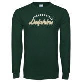 Dark Green Long Sleeve T Shirt-Script