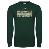 Dark Green Long Sleeve T Shirt-Block Distressed