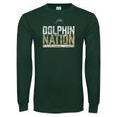 Dark Green Long Sleeve T Shirt-Dolphin Nation