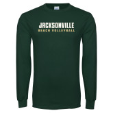 Dark Green Long Sleeve T Shirt-Beach Volleyball