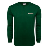 Dark Green Long Sleeve T Shirt-Jacksonville Dolphins Word Mark