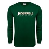 Dark Green Long Sleeve T Shirt-Jacksonville Dolphins Word Mark