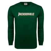 Dark Green Long Sleeve T Shirt-Jacksonville Word Mark