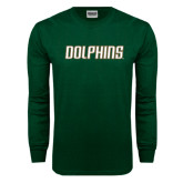 Dark Green Long Sleeve T Shirt-Dolphins Word Mark