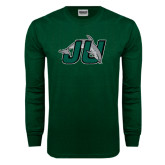 Dark Green Long Sleeve T Shirt-Official Logo Distressed