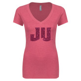 Next Level Ladies Vintage Pink Tri Blend V Neck Tee-JU Hot Pink Glitter