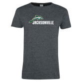 Ladies Dark Heather T Shirt-Dolphin Jacksonville