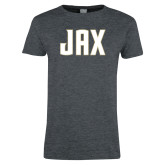 Ladies Dark Heather T Shirt-JAX Wordmark