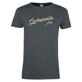 Ladies Dark Heather T Shirt-Script Jacksonville