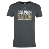 Ladies Dark Heather T Shirt-Dolphin Nation