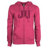 ENZA Ladies Fuchsia Fleece Full Zip Hoodie-JU Hot Pink Glitter