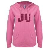 ENZA Ladies Hot Pink V Notch Raw Edge Fleece Hoodie-JU Hot Pink Glitter