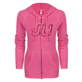 ENZA Ladies Hot Pink Light Weight Fleece Full Zip Hoodie-Official Logo Hot Pink Glitter