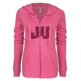 ENZA Ladies Hot Pink Light Weight Fleece Full Zip Hoodie-JU Hot Pink Glitter