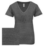 ENZA Ladies Graphite Melange V Neck Tee-Official Logo Graphite Glitter