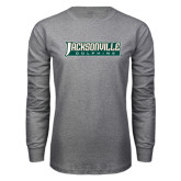 Grey Long Sleeve T Shirt-Jacksonville Dolphins Word Mark