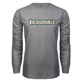 Grey Long Sleeve T Shirt-Jacksonville Word Mark