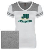 Ladies White/Heathered Grey Juniors Varsity V Neck Tee-Primary Logo