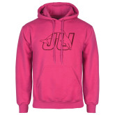 Fuchsia Fleece Hood-Official Logo Hot Pink Glitter