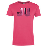 Ladies Fuchsia T Shirt-JU Foil