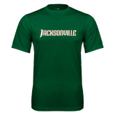 Performance Dark Green Tee-Jacksonville Word Mark