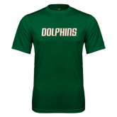 Performance Dark Green Tee-Dolphins Word Mark