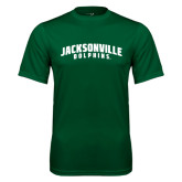 Performance Dark Green Tee-Jacksonville Dolphins Arched