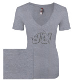 Next Level Ladies Vintage Heather Tri Blend V Neck Tee-Official Logo Graphite Glitter