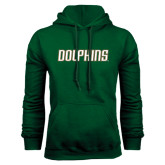 Dark Green Fleece Hood-Dolphins Word Mark