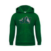 Youth Dark Green Fleece Hood-Official Logo