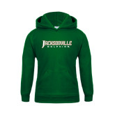 Youth Dark Green Fleece Hood-Jacksonville Dolphins Word Mark