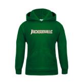 Youth Dark Green Fleece Hood-Jacksonville Word Mark