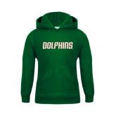 Youth Dark Green Fleece Hood-Dolphins Word Mark