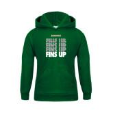 Youth Dark Green Fleece Hood-Fins Up